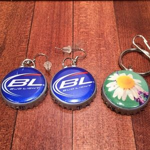 Homemade BudLight earring /Free Battlecap Keychain